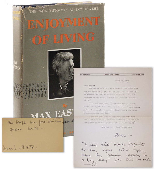 Enjoyment of Living [Inscribed with TLS]. RADICAL, PROLETARIAN LITERATURE.