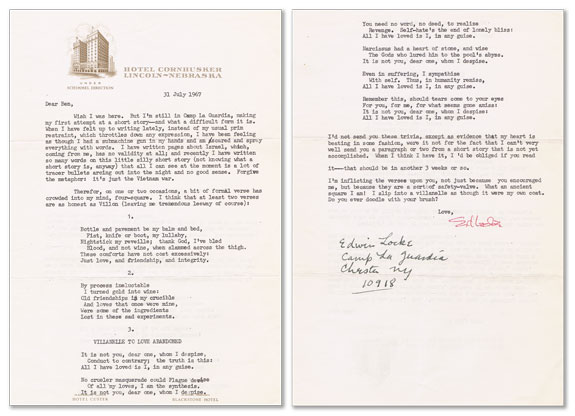 Typed Letter, Signed. 2pp, to Ben Shahn, dated 31 July 1967. Edwin LOCKE.