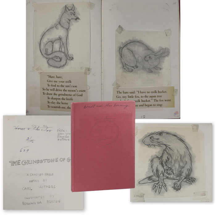 Original Hand-Bound Mock-Up for The Grindstone of God: A Samoyed Fable, with 26 Original Pencil Illustrations by Bernarda Bryson Shahn. Bernarda Bryson SHAHN, Carl WITHERS.