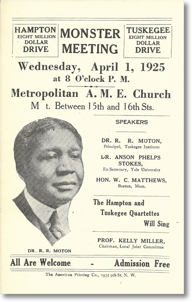 [Broadside / Handbill] Monster Meeting Wednesday, April 1, 1925 ... Metropolitan A.M.E. Church [with] Program / Hampton-Tuskegee Eight Million Dollar Drive. AFRICAN AMERICANS, NEGRO EDUCATION.