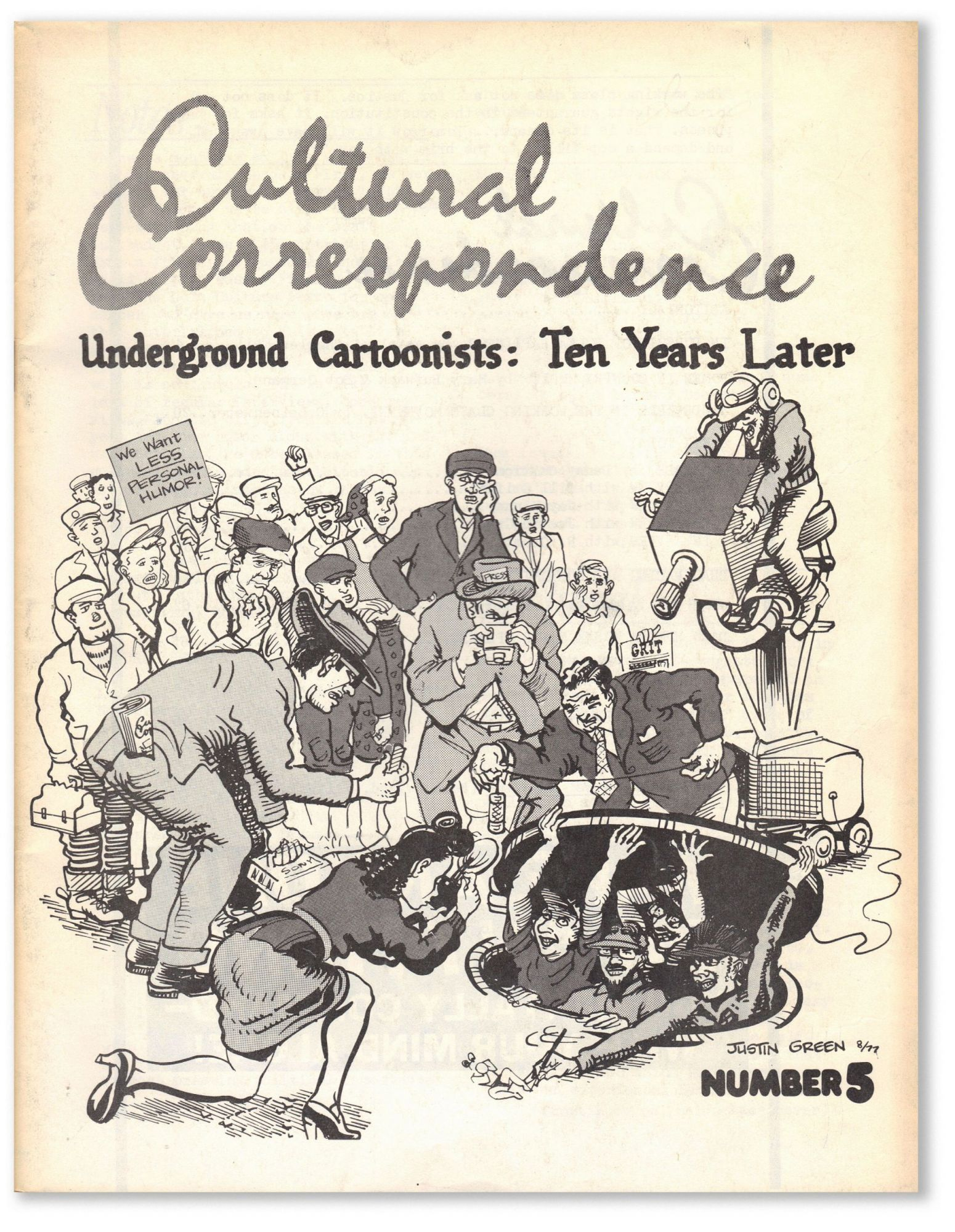 Cultural Correspondence Number 5. Underground Cartoonists: Ten Years Later. POLITICAL CARTOONS, CARICATURE, eds.