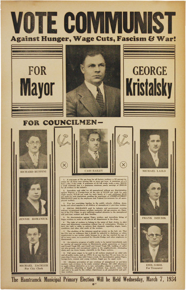 """Hand-Painted Banner: """"Elect Communists! Kristalsky for Mayor"""" COMMUNISM - MICHIGAN."""