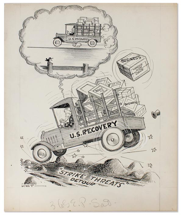 """Original pen-and-ink drawing: """"U.S. Recovery"""" ORIGINAL CARTOONS - GREAT DEPRESSION, Frank KETTLEWELL."""