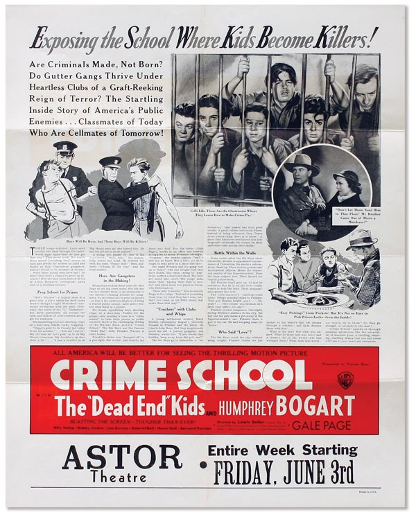 "Promotional poster for the 1938 Exploitation Film ""Crime School"" JUVENILE DELINQUENCY - FILM."
