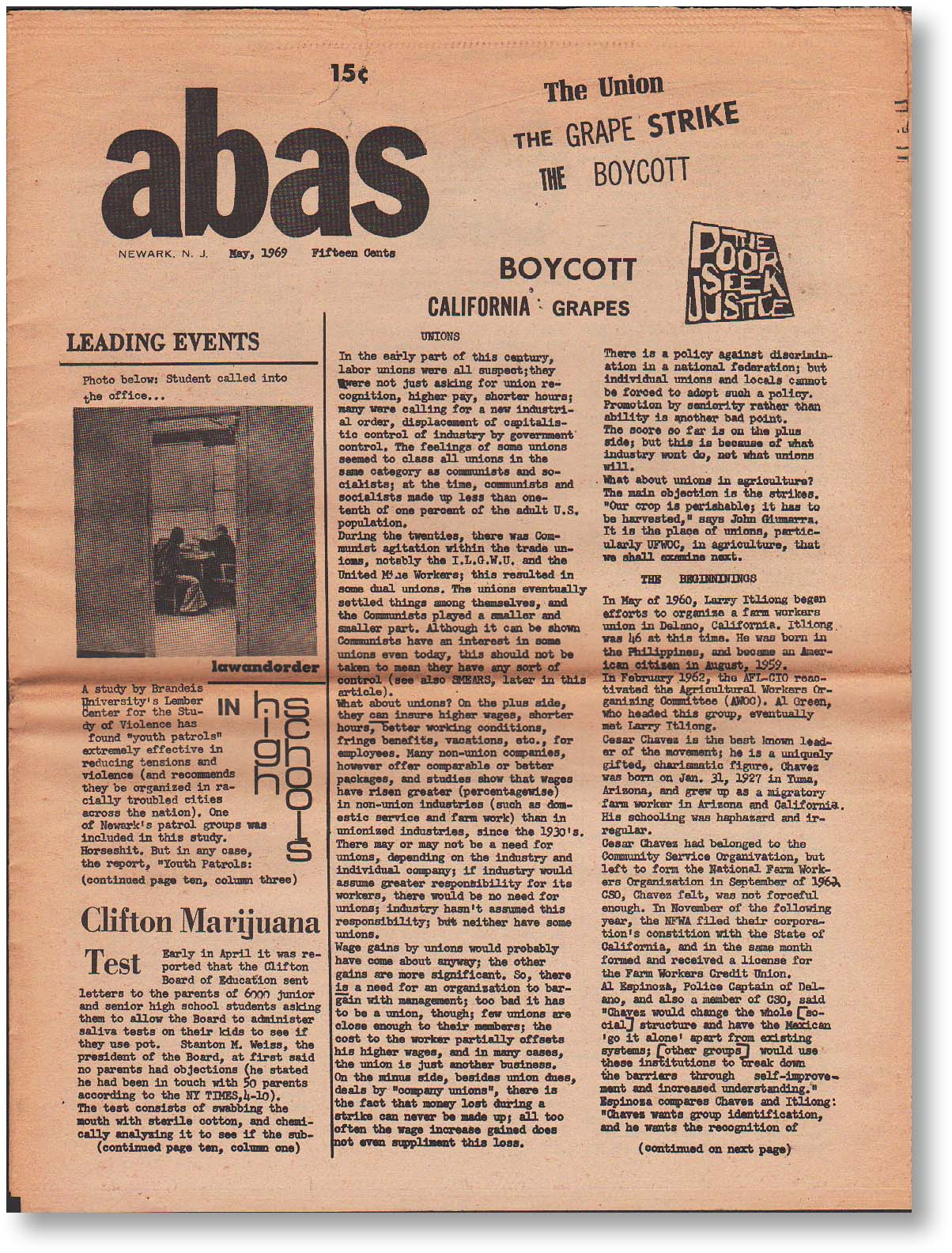 """Abas. Issues #7,8,9 (May, [Jun/July], """"Late Summer,"""" 1969). Michael J. BUCKLEY."""