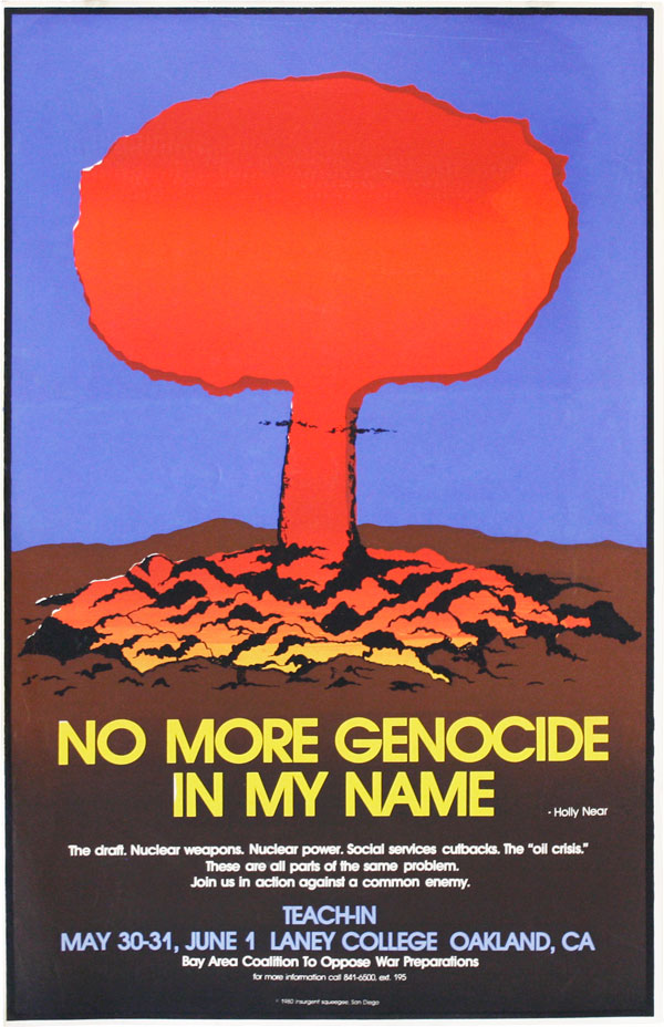 No More Genocide In My Name. PACIFISM, Insurgent Squeegee.