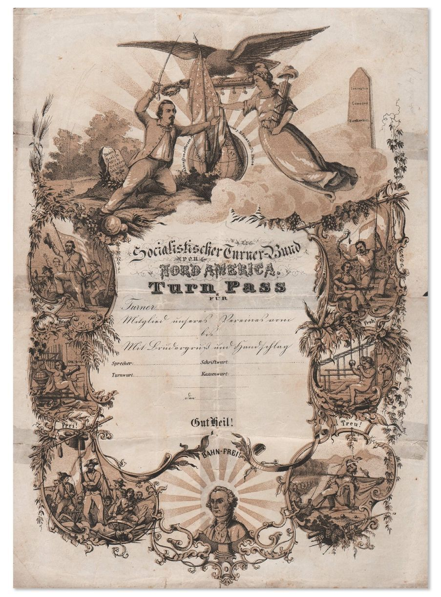 Lithographed Membership Certificate for the Socialistischer Turner-Bund, ca.1850's. SOCIALISM - GERMAN-AMERICANS, NORTH AMERICAN SOCIALISTISCHER TURNER-BUND.