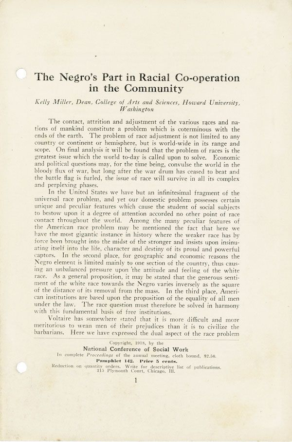 The Negro's Part in Racial Co-operation in the Community. AFRICAN-AMERICANA, Kelly MILLER.