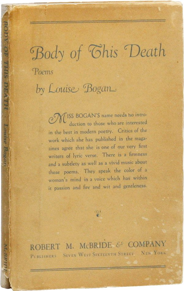 Body of This Death: Poems. Louise BOGAN.