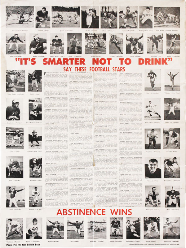 """Poster: """"It's Smarter Not To Drink"""" Say These Football Stars - Abstinence Wins"""" TEMPERANCE."""