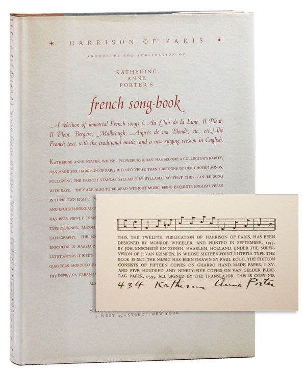 Katherine Anne Porter's French Song-Book [Limited Edition, Signed]. Katherine Anne PORTER.
