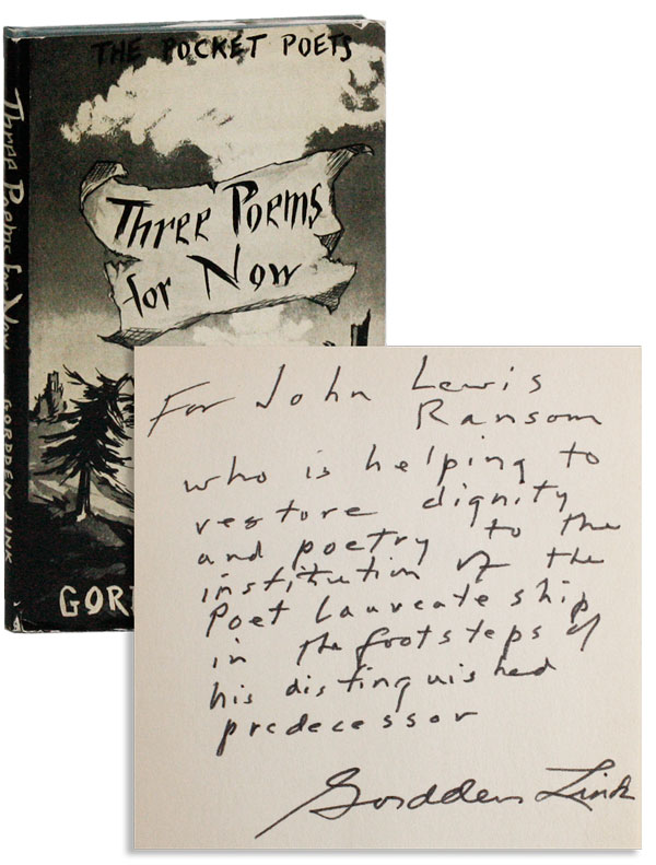 Three Poems for Now [Facsimile Edition, inscribed]. Gordden LINK.
