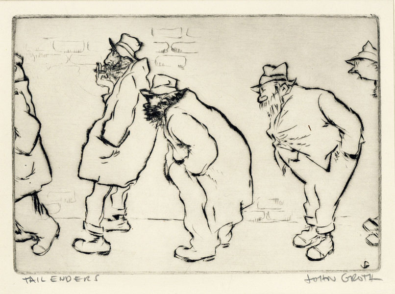 """Drypoint Etching: """"Tail Enders"""" John GROTH."""