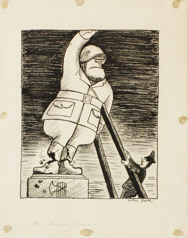 "Original cartoon illustration, ""The Colossus Leans,"" ca 1943. John GROTH."