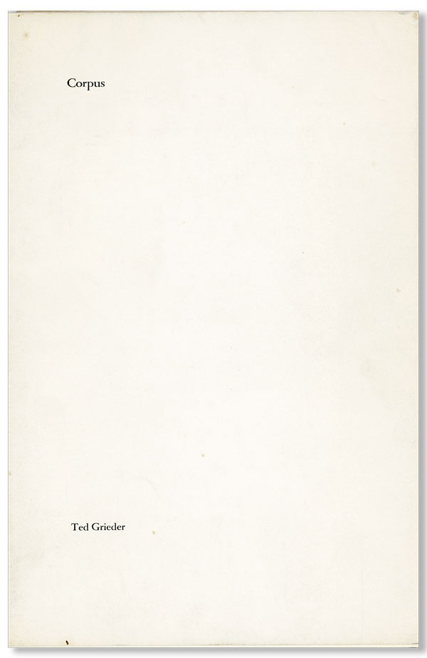 Corpus (Inscribed). Ted GRIEDER.