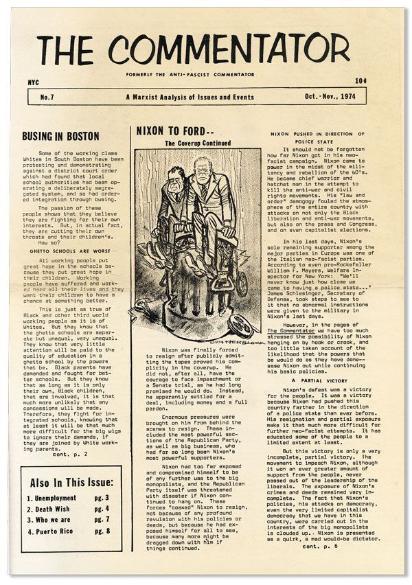 The Commentator. A Marxist Analysis of Issues and Events (Formerly the Anti-Fascist Commentator). No. 7, Oct-Nov, 1974. Dave DAVIS.