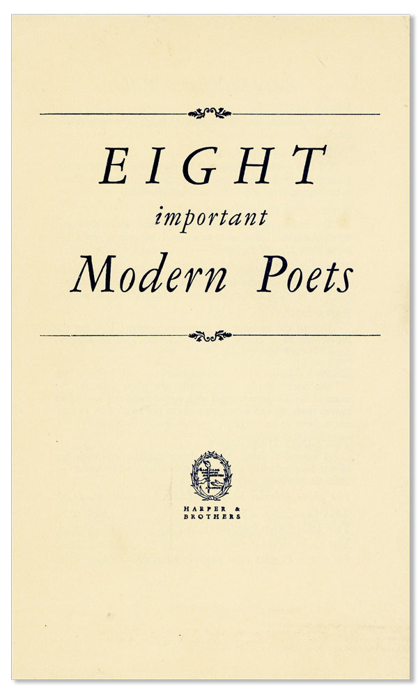 Eight Important Modern Poets. HARPER, BROTHERS.