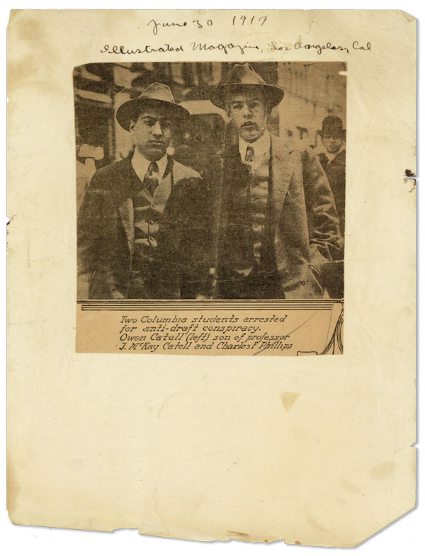 Newspaper clipping mounted to onionskin sheet. WWI.