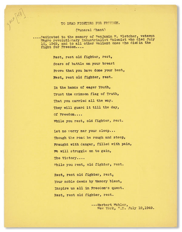 Broadside: To Dead Fighters for Freedom (Funeral Chant). Herbert MAHLER.