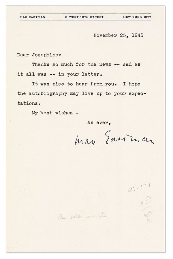 """Typed Note, signed, to """"Joesphine"""" [Herbst?], dated November 25, 1945. RADICAL AUTHORS, AUTOGRAPHS, MANUSCRIPTS."""