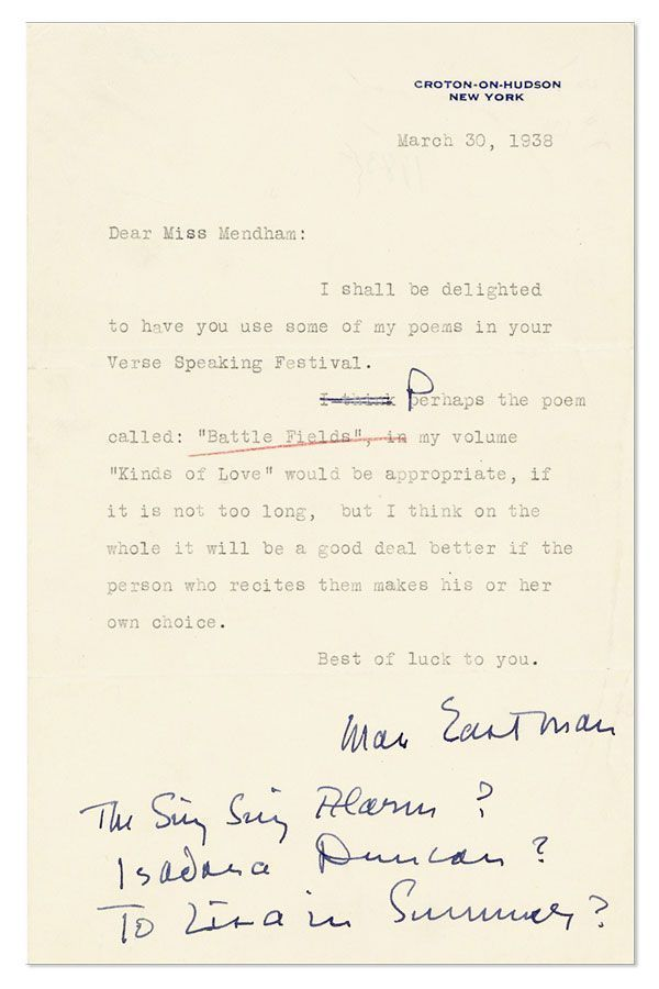 "Typed Note, signed. 1pp, to ""Miss Mendham"", dated March 30, 1938. RADICAL AUTHORS, AUTOGRAPHS, MANUSCRIPTS."