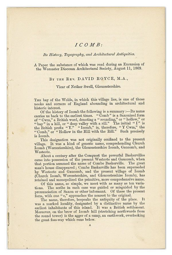 Icomb: Its History, Topography, and Architectural Antiquities. David ROYCE.