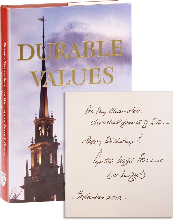 Durable Values: Selected Writings of Peter J. Gomes [Inscribed & Signed by the Editor]. Peter J. GOMES, ed Cynthia Wight Rossano.
