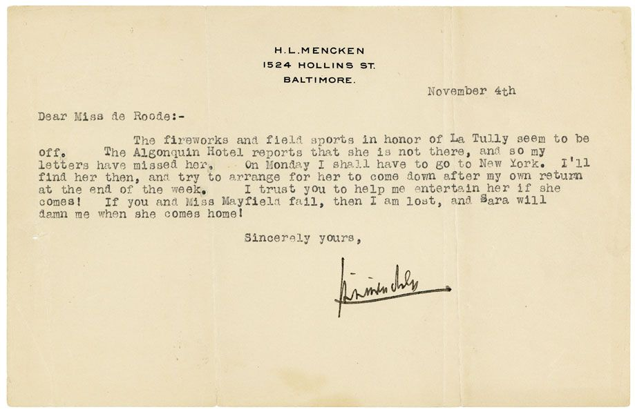 Collection of Four Pieces of Signed Correspondence to His Secretary Polly de Roode. H. L. MENCKEN.