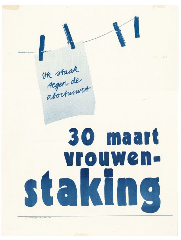 Poster: 30 maart vrouwenstaking [March 30th, Women's Day]. WOMEN.