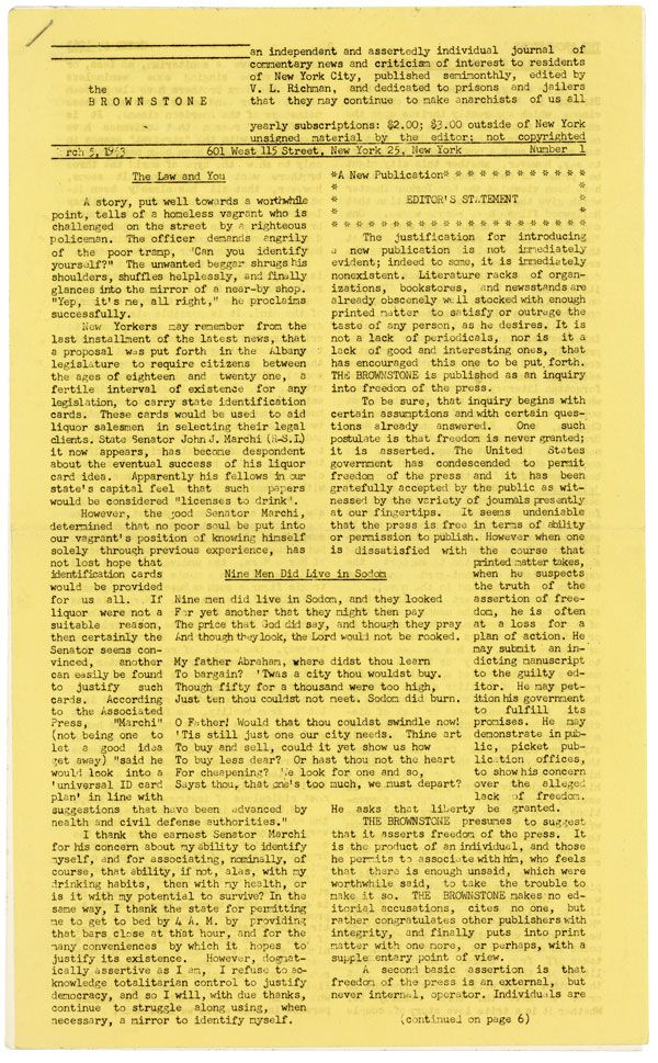 The Brownstone [Six Issues, Mar-Nov 1963]. ANARCHISM, ANARCHIST PERIODICALS, V. L. RICHMAN.