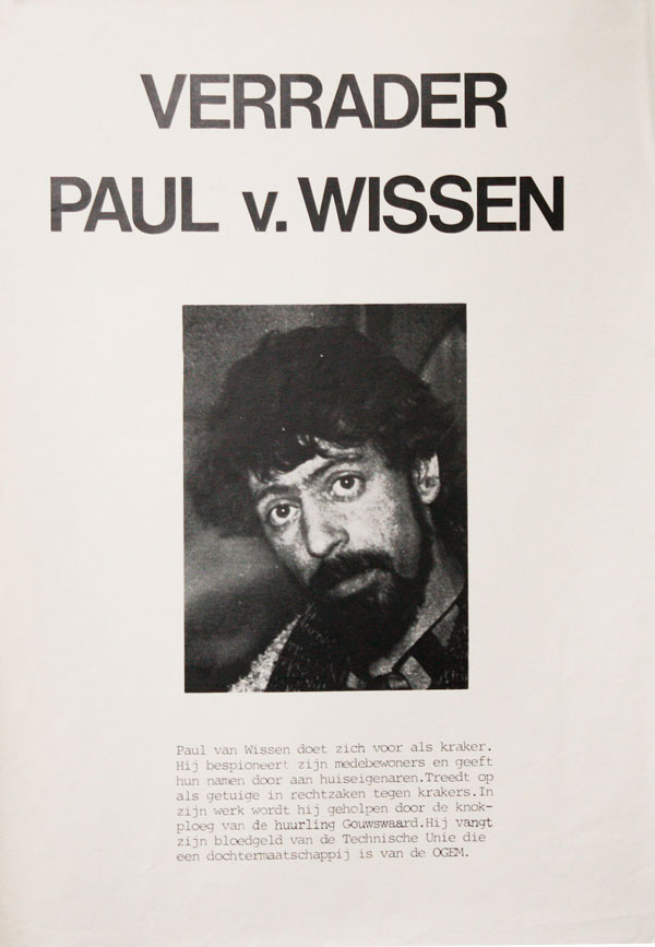 [Poster] Verrader Paul V. Wissen [Traitor Paul V. Wissen]. SQUATTERS MOVEMENT - NETHERLANDS.