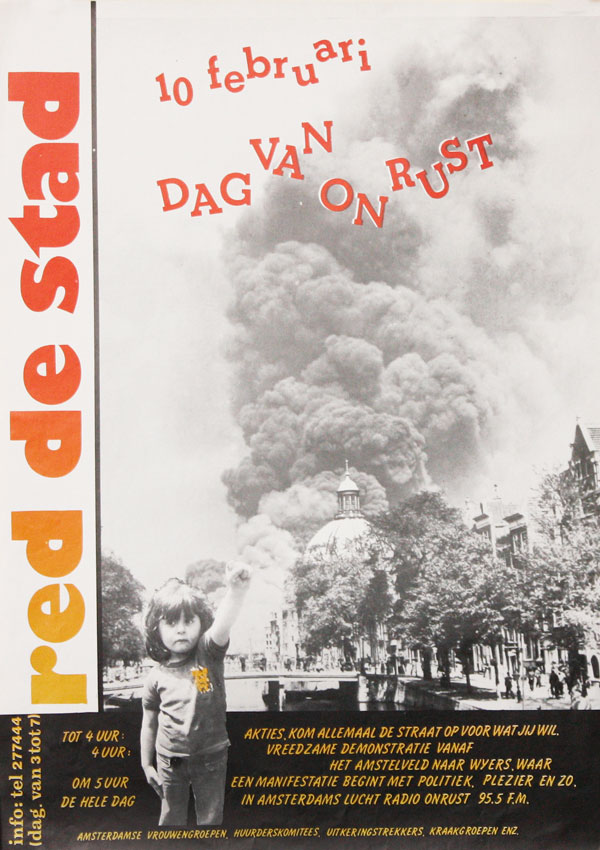 [Poster] Red de Stad: 10 Februari Dag Van on Rust [Save the City: February 10, Day of Protest]. SQUATTERS MOVEMENT - NETHERLANDS.