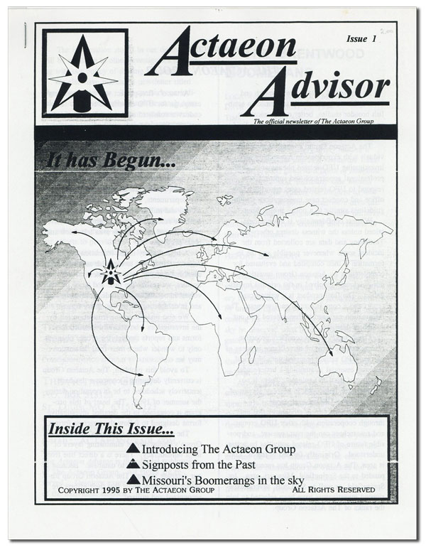 Actaeon Advisor: The Official Newsletter of the Actaeon Group. Issue 1. ACTAEON GROUP.