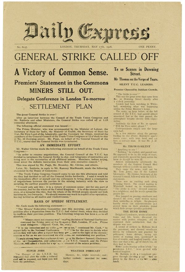 "Archive of 15 pieces of printed ephemera relating to the 1926 General Strike in Great Britain, including all eight issues of Winston Churchill's anti-labor newspaper ""The British Gazette"" LABOR HISTORY - GREAT BRITAIN, Winston Spencer CHURCHILL."