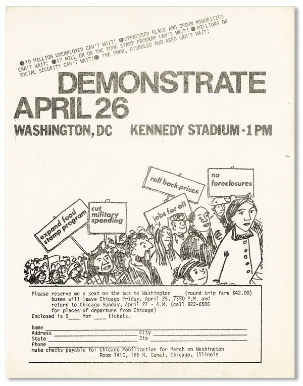 Demonstrate April 26 - Washington, DC - Kennedy Stadium 1 PM. CHICAGO MOBILIZATION FOR MARCH ON WASHINGTON.