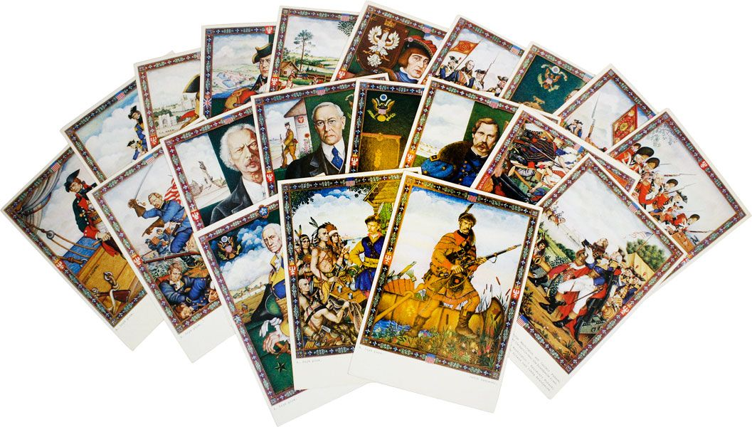 "Complete Set of Twenty World's Fair Souvenir Postcards from the Exhibition ""The Glorious Days of the Polish-American Fraternity"" GRAPHICS, Arthur SZYK."