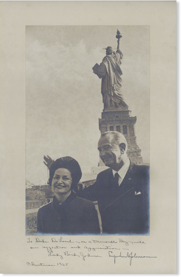 """Original Photographic Portrait, Inscribed and Signed to Cartha DeLoach, Dated Christmas 1965. Lyndon Baines JOHNSON, Claudia Alta """"Lady Bird"""""""