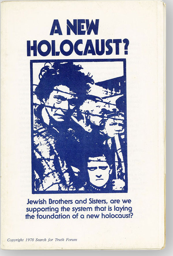 A New Holocaust? Jewish Brothers and Sisters, Are We Supporting the System That is Laying the Foundation of a New Holocaust? Joel STEIN.