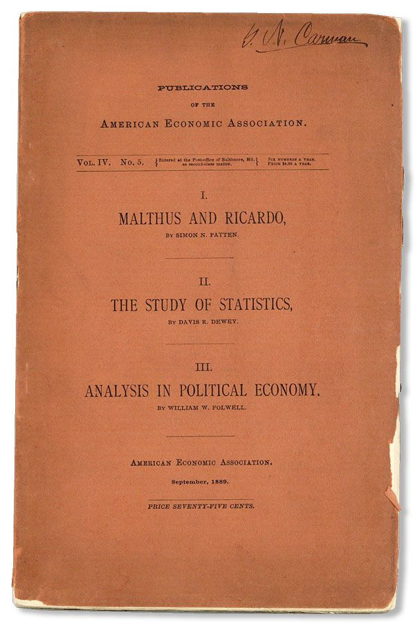Publications of the American Economic Association, Vol. IV, no. 5, September, 1889. AMERICAN ECONOMIC ASSOCIATION.