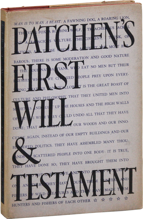 Patchen's First Will & Testament [Inscribed Copy]. Kenneth PATCHEN.