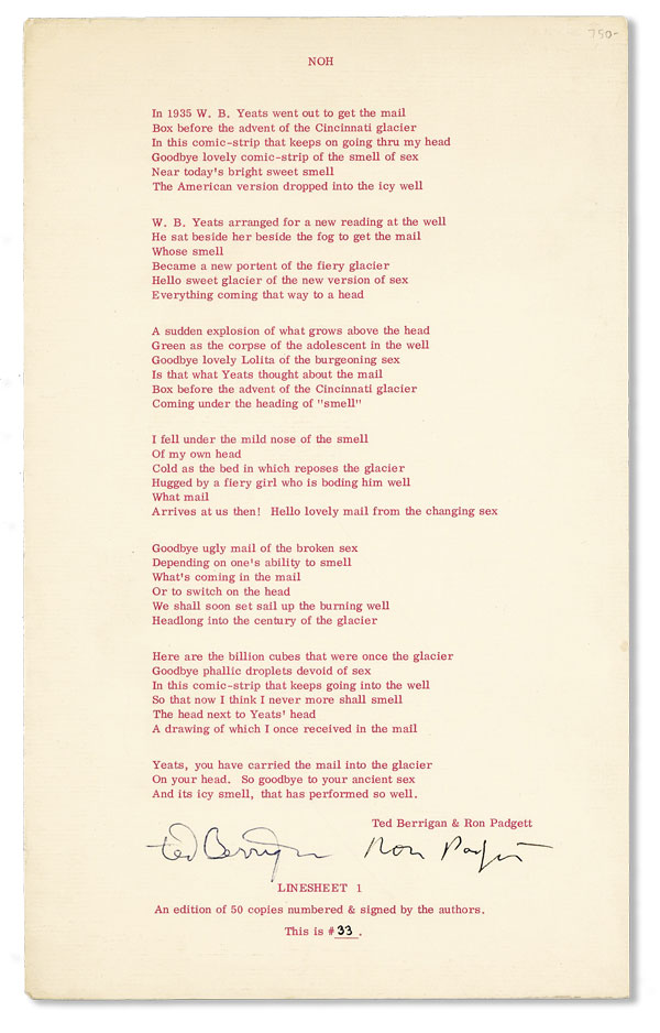 Noh [Issued as Linesheet no. 1]. Ted BERRIGAN, Ron Padgett.
