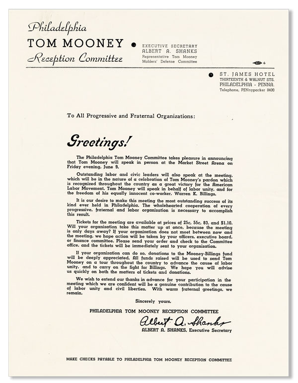 [Broadside] To the Progressive and Fraternal Organizations, Greetings! Albert A. SHANKS.