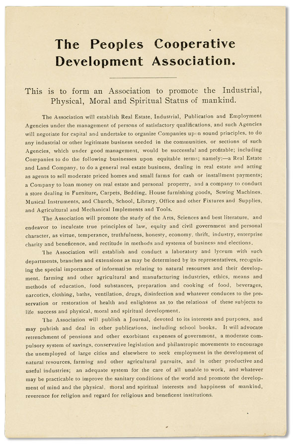 Broadside: The Peoples Cooperative Development Association: This is to form an Association to promote the Industrial, Physical, Moral and Spiritual Status of mankind. UTOPIAN, GEORGIA.