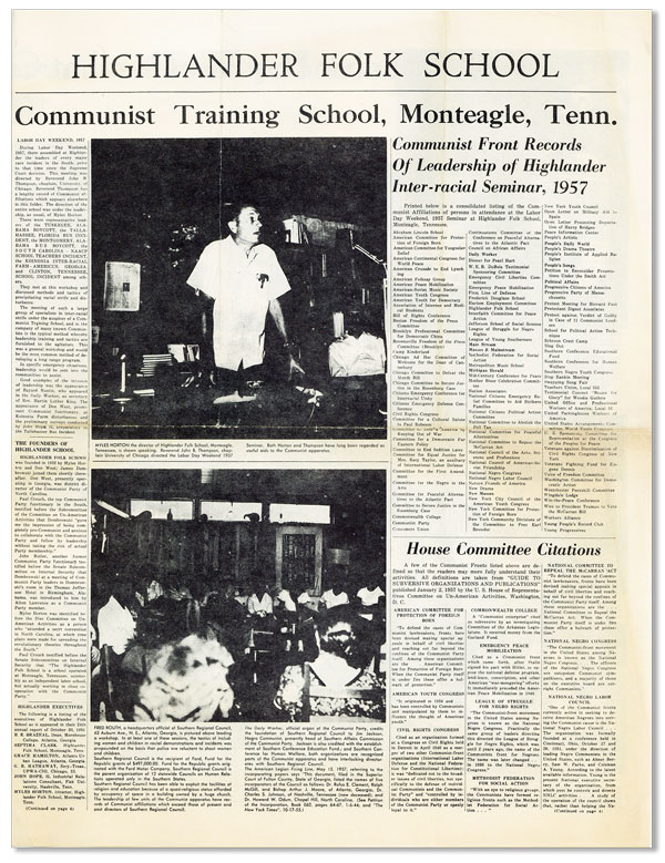 Highlander Folk School: Communist Training School, Monteagle, Tenn. Marvin GRIFFIN, RADICAL RIGHT, FASCISM.