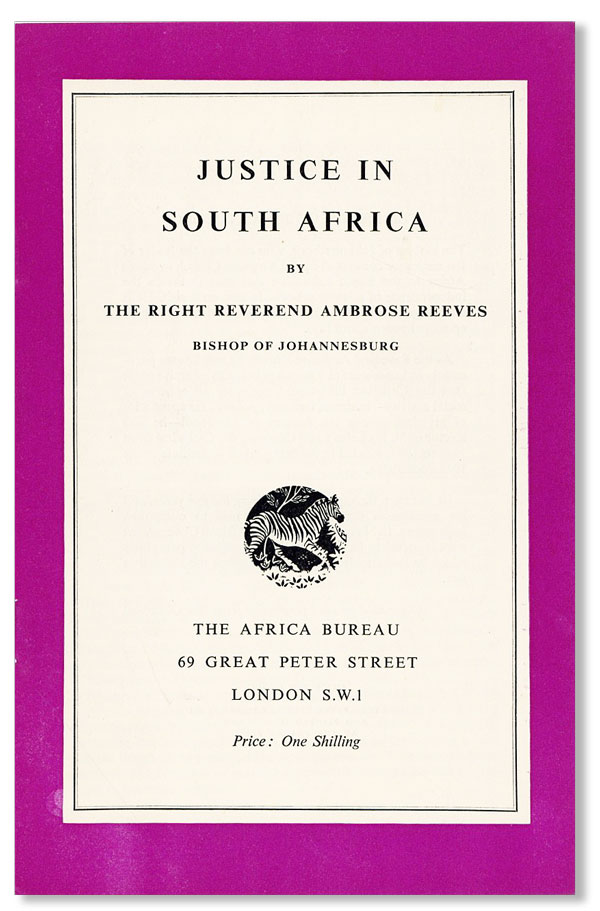 Justice in South Africa. Ambrose REEVES.