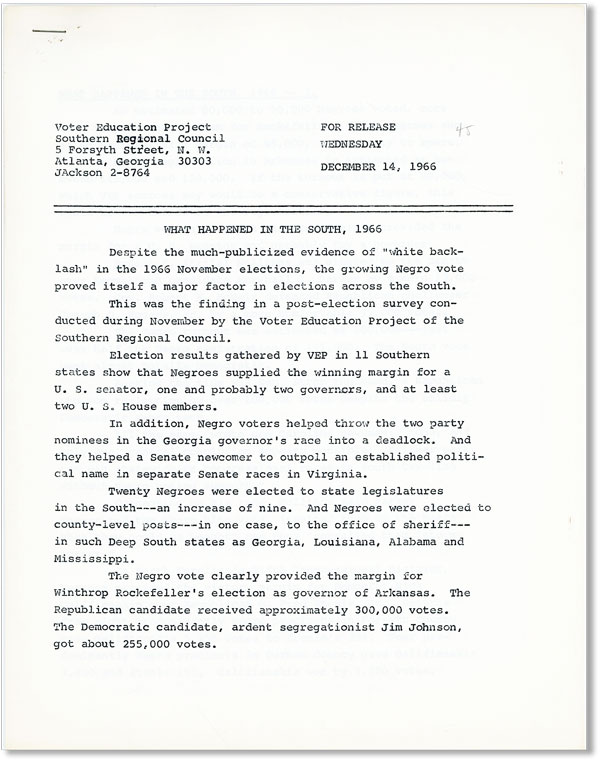 [Press Release] December 14, 1966: What Happened in the South, 1966. SOUTHERN REGIONAL COUNCIL.