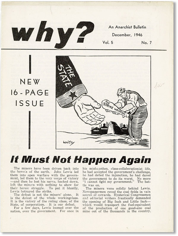 Why? An Anarchist Bulletin. Vol. 5, no. 7 (December, 1946). ANARCHIST PERIODICALS, William YOUNG.