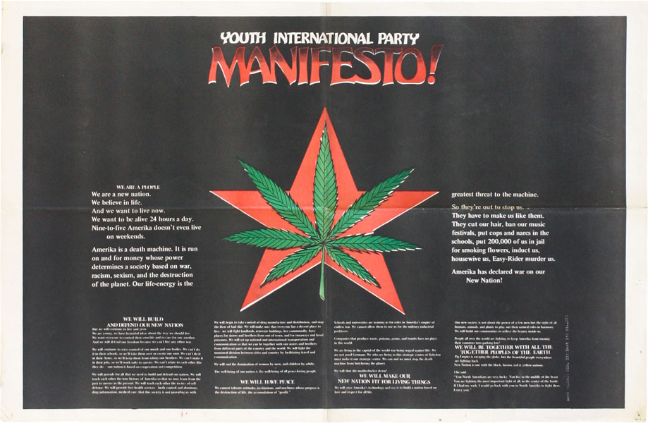 Poster: Youth International Party Manifesto! NEW LEFT, YIPPIES.