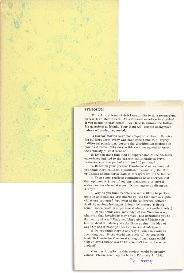 Fourth Dimension [Issue Seven / Samisdat, Vol. 30, no. 2] [Broadside Proposal Laid in, Signed by Kemp]. P. J. KEMP, ed.