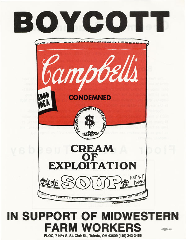 BOYCOTT Campbell's Cream of Exploitation Soup - In Support of Midwestern Farm Workers. FARM WORKERS, ORGANIZED LABOR - GRAPHICS, ORIGINAL ART.